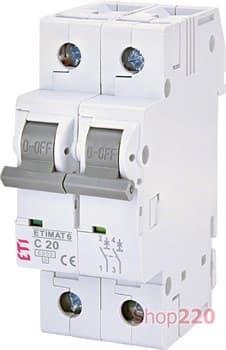 Автоматический выключатель 20А, 2 полюса, тип C, Eti 2143517 - фото 46608