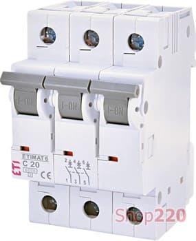 Автоматический выключатель 20А, 3 полюса, тип C, Eti 2145517 - фото 46624