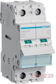 Выключатель нагрузки 40А, 2-полюсный, SBN240 Hager - фото 47599