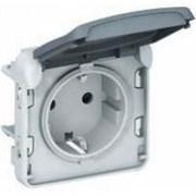 Розетка влагозащищенная IP55, встраиваемая, безвинтовой зажим, серый 69570 Legrand