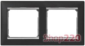 Рамка 2 поста, ноктюрн / серебряный штрих, 770392 Legrand Valena