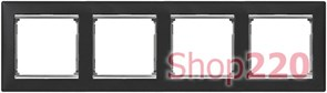Рамка 4 поста, ноктюрн / серебряный штрих, 770394 Legrand Valena