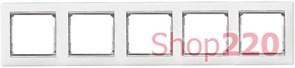 Рамка 5 постов, белый/серебряный штрих 770495 Legrand Valena