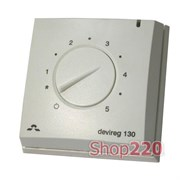 Терморегулятор для теплого пола Devireg 130, +5 - +45 *C, датчик пола, 16А, 140F1010 Devi