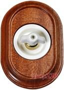 Поворотный выключатель Venezia Oval в рамке дерево Sapelly