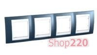 Рамка 4 поста, голубой лёд, Unica MGU6.008.854 Schneider