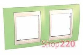 Рамка 2 поста, зеленое яблоко, Unica MGU6.004.563 Schneider