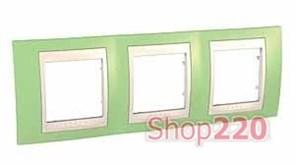 Рамка 3 поста, зеленое яблоко, Unica MGU6.006.563 Schneider