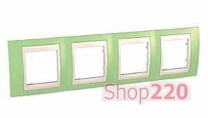 Рамка 4 поста, зеленое яблоко, Unica MGU6.008.563 Schneider