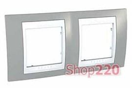 Рамка 2 поста, серый, Unica MGU6.004.865 Schneider