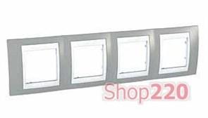 Рамка 4 поста, серый, Unica MGU6.008.865 Schneider