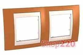 Рамка 2 поста, оранжевый, Unica MGU6.004.569 Schneider
