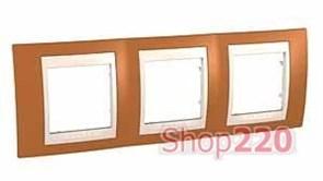 Рамка 3 поста, оранжевый, Unica MGU6.006.569 Schneider