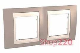 Рамка 2 поста, коричневый, Unica MGU6.004.574 Schneider