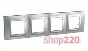 Рамка 4 поста, матовый хром, Unica MGU66.008.038 Schneider