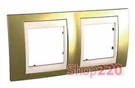 Рамка 2 поста, золото, Unica MGU66.004.504 Schneider