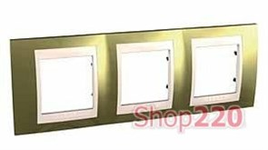 Рамка 3 поста, золото, Unica MGU66.006.504 Schneider
