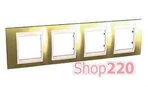 Рамка 4 поста, золото, Unica MGU66.008.504 Schneider