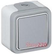 Выключатель влагозащищенный IP55 накладной, 1-клавишный, серый 69711 Legrand