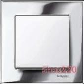 Выключатель 1-клавишный M-Elegance, рамка металл хром, вставка белая матовая