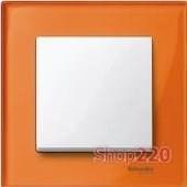 Выключатель 1-клавишный M-Elegance, рамка стекло оранжевый кальцит