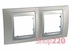 Рамка 2 поста, никель матовый, Unica MGU66.004.039 Schneider