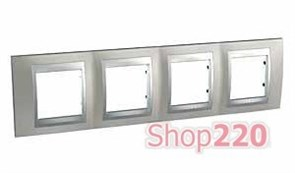 Рамка 4 поста, никель матовый, Unica MGU66.008.039 Schneider