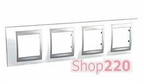 Рамка 4 поста, белоснежный, Unica MGU66.008.092 Schneider