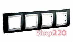 Рамка 4 поста, черный родий, Unica MGU66.008.093 Schneider