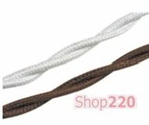 Провод плетеный для открытой проводки, 3х2,5 изолированый, коричневый или белый, Garby