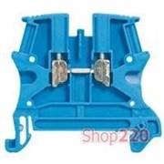 Клеммник 4 мм кв, синий на дин-рейку