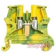 Клеммник 6 мм кв, желто-зеленый на дин-рейку