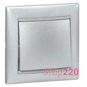 Выключатель крестовой 1-клавишный, алюминий, Legrand 770107 Valena
