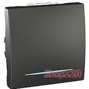Выключатель проходной с подсветкой, 2 модуля, графит, Unica Top MGU3.203.12N Schneider