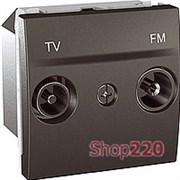 Механизм розетки ТВ-FM конечной, 2 модуля, графит, Unica Тор MGU3.452.12 Schneider