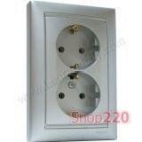 Механизм розетки двойной с заземлением и защитными шторками, 16А, алюминий, Legrand 700127 Valena