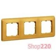 Рамка 3 поста, матовое золото, 773663 Legrand Cariva