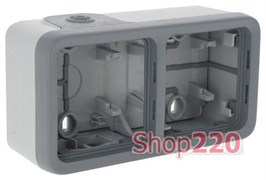 Коробка 2-ная накладная горизонтальная, серый 69672 Legrand