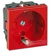 Розетка с механической блокировкой, красный, 77214 Legrand Mosaic