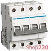 Автоматический выключатель 25 А, 4 полюса, С, MC425A Hager