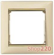 Рамка 1 пост, слоновая кость/золотой штрих 774151 Legrand Valena