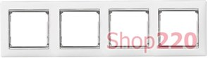 Рамка 4 поста, белый/серебряный штрих 770494 Legrand Valena