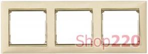 Рамка 3 поста, слоновая кость/золотой штрих 774153 Legrand Valena