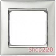 Рамка 1 пост, алюминий/серебряный штрих 770351 Legrand Valena