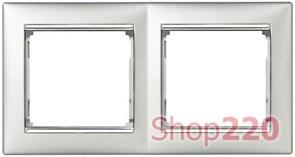 Рамка 2 поста, алюминий/серебряный штрих 770352 Legrand Valena
