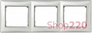 Рамка 3 поста, алюминий/серебряный штрих 770353 Legrand Valena