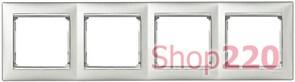 Рамка 4 поста, алюминий/серебряный штрих 770354 Legrand Valena
