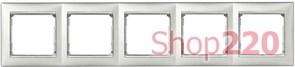 Рамка 5 постов, алюминий/серебряный штрих 770355 Legrand Valena
