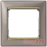 Рамка 1 пост, титан / золотой штрих, 770361 Legrand Valena