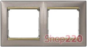 Рамка 2 поста, титан / золотой штрих, 770362 Legrand Valena
